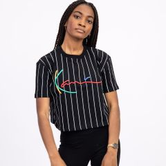KARL KANI SIGNATURE PINSTRIPE CROP TOP