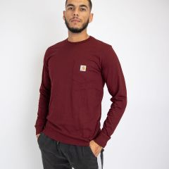 CARHARTT L-S POCKET T-SHIRT BORDEAUX