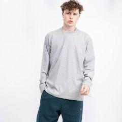 CARHARTT WIP L/S CHASE T-SHIRT GREY HEATHER/GOLD