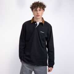 CARHARTT L/S CORD RUGBY POLO BLACK/BROWN